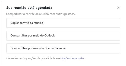 Sua reunião está agendada para a tela