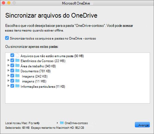 Captura de tela do menu de configuração do OneDrive para selecionar quais pastas ou arquivos sincronizar.