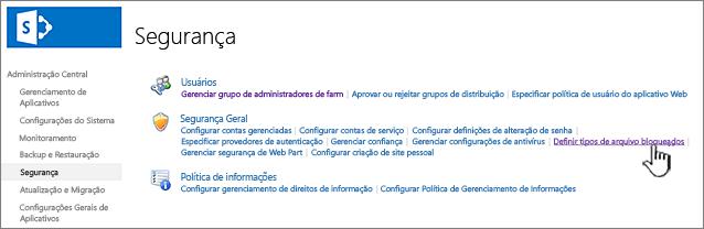 Definir arquivos bloqueados de segurança de administração central