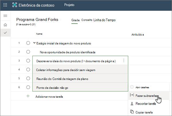 A seleção do menu fazer subtarefa em um projeto no Project