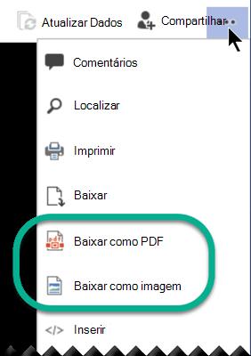 """No modo de exibição, as opções """"download"""" estão disponíveis na parte superior da janela, no menu de reticências."""
