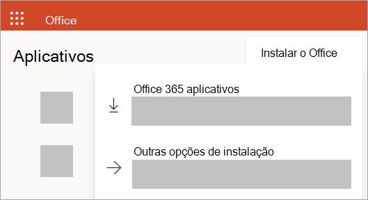 Captura de tela do Office.com ao entrar com uma conta corporativa ou de estudante