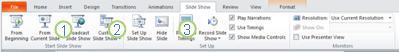 a guia apresentação de slides na faixa de opções do powerpoint 2010.