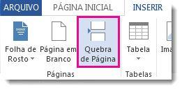 como inserir uma quebra de página