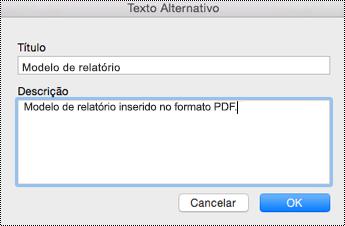 Adicionar texto Alt a arquivos inseridos no OneNote para Mac