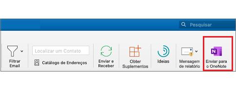 Botão enviar para o OneNote na faixa de opções