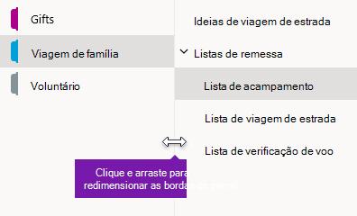 Redimensionar os painéis de navegação no OneNote para Windows 10