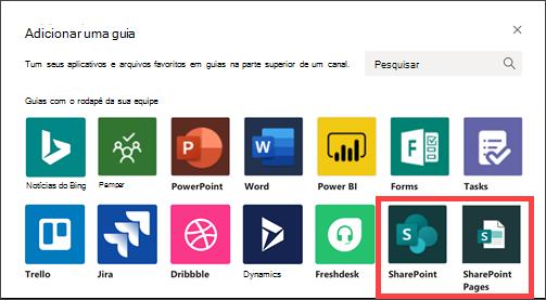 Adicionar uma guia no Microsoft Teams com as opções do SharePoint realçadas