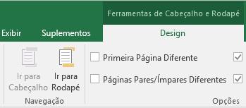 Sessões da barra de ferramentas Design do Excel
