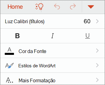 Menu fonte no PowerPoint para iOS.