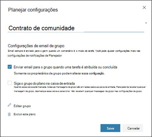"""Captura de tela: mostrando a configuração """"Enviar email para o grupo do plano..."""" para as configurações do plano"""