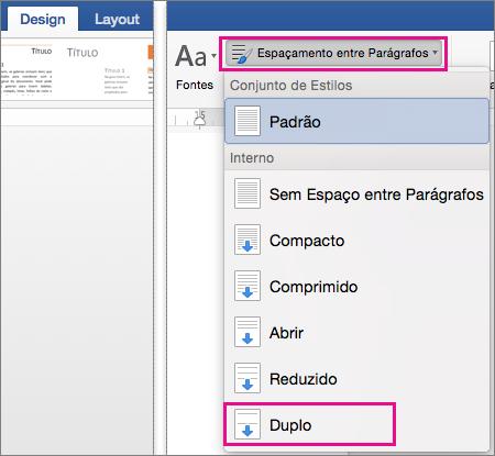 Na guia Design, a opção Duplo está realçada em Espaçamento entre Parágrafos.