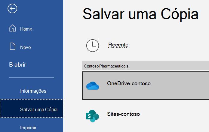Captura de tela da opção Salvar uma cópia do Word