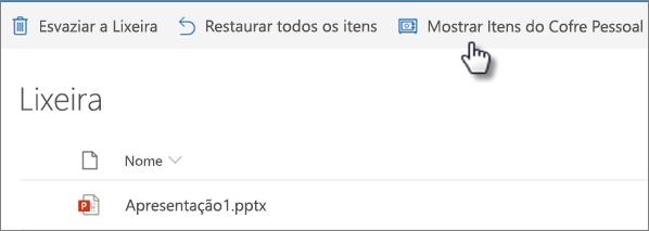 """Exibição da lixeira do OneDrive mostrando a opção """"Mostrar itens do cofre pessoal"""""""