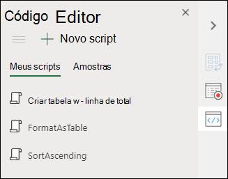 Imagem do editor de código de scripts do Office, que exibe os scripts do Office que você salvou.