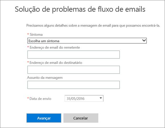 Captura de tela da área de entrada da solução de problemas de fluxo de emails. Os administradores devem escolher um sintoma e adicionar o endereço de email de um remetente ou destinatário, antes de escolher a opção Avançar para iniciar a solução de problemas.