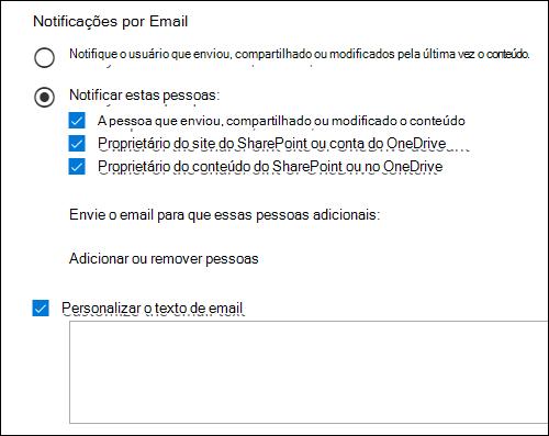 Opções de notificação de email