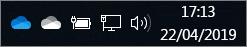 Cliente de sincronização do OneDrive com os ícones da nuvem azul e da nuvem branca