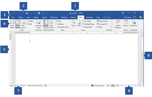 Interface de usuário do Word