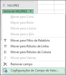 Diálogo de Configurações do Campo de Valor do Excel