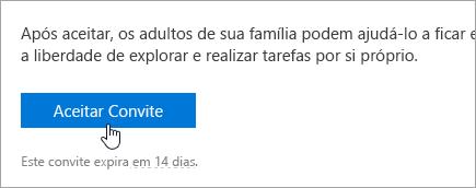 Uma captura de tela do botão Aceitar no email de convite.