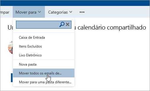 Uma captura de tela da opção Mover todos os emails de