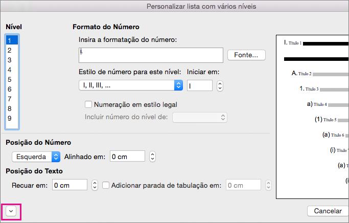 A seta para baixo é realçada na caixa de diálogo Personalizar Estrutura de Tópicos.