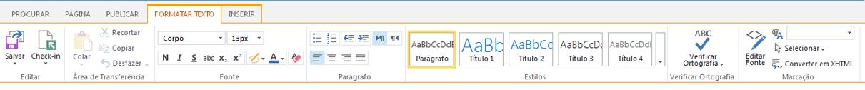 A captura de tela da guia Formatar Texto contém vários botões para formatação de texto