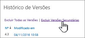 Caixa de diálogo de versões com excluir versões secundárias realçado