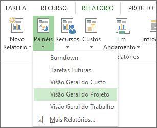 menu painel de controle na guia relatório.