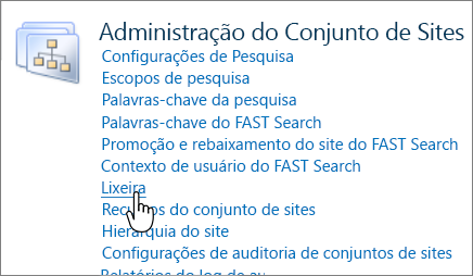 Seção do Administrador do Conjunto de Sites do SharePoint 2010 com a Lixeira realçada