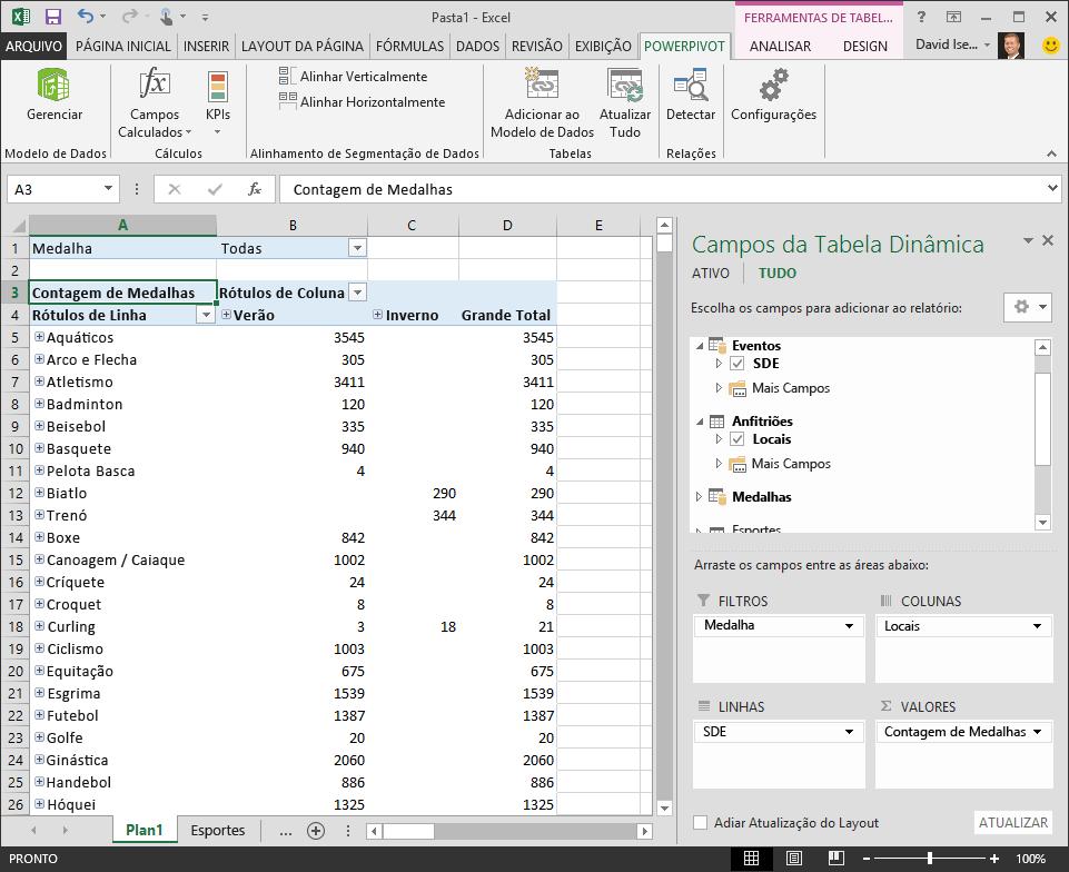 tabela dinâmica com hierarquia adicionada