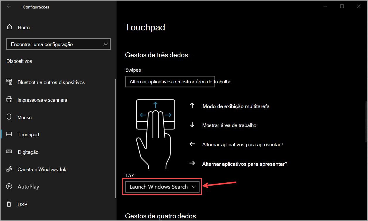 Configurações de touchpad no Windows 10