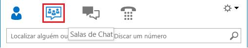 Captura de tela dos ícones de exibição da janela principal do Lync com a sala de chat selecionada