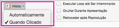 Mostra as opções de início de vídeo no PowerPoint 2016 para Mac