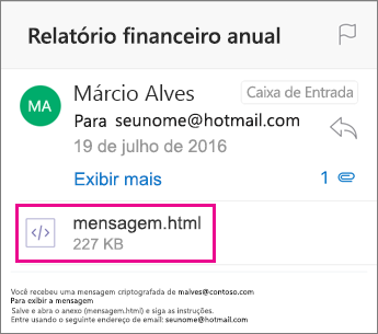 Visualizador do OME para Outlook para iOS 1