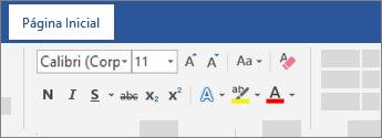 Opções de formatação de texto na faixa de opções do Word