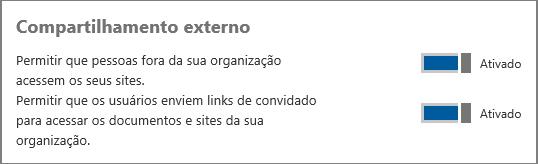 Captura de tela do compartilhamento externo ativado no centro de administração.