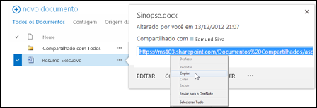 Uma URL de documento do SharePoint no texto explicativo do documento