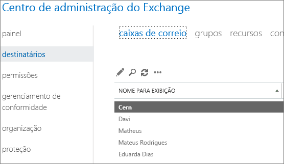 Localizar as caixas de correio no Centro de administração do Exchange para corrigir o DSN 5.7.134