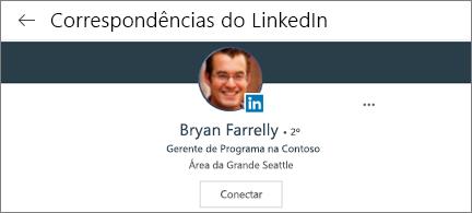 Cartão de perfil mostrando vinculado na foto, título e botão de conexão