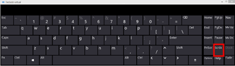 Teclado Virtual do Windows 10 com a tecla Scroll Lock