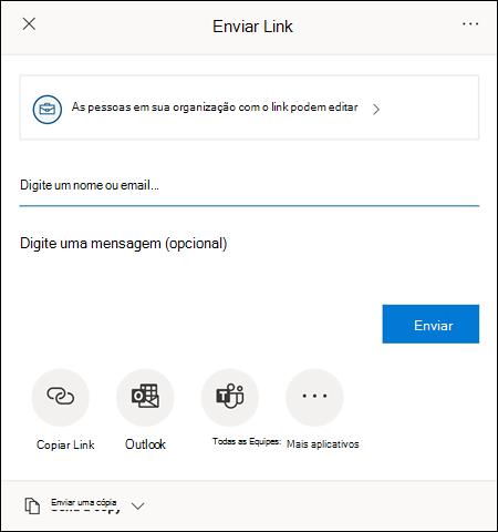 A caixa de diálogo Compartilhar ajuda você a convidar outras pessoas para acessar seu arquivo.