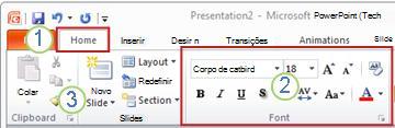 Exemplo da Faixa de Opções do PowerPoint: Elementos.