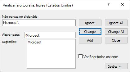 Captura de tela da caixa de diálogo Verificar ortografia no Publisher