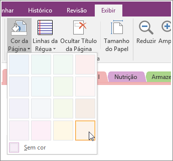 Screenshot of the Page Color button in OneNote 2016.