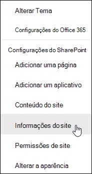 Link de informações de site do SharePoint