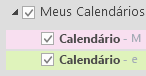 Os calendários estão listados em Meus Calendários. Marque as caixas de seleção dos calendários que deseja visualizar.