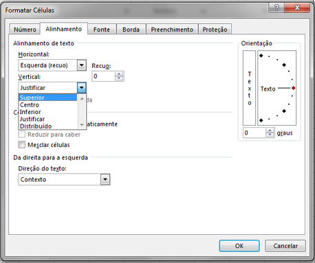 A guia Alinhamento da caixa de diálogo Formatar Células.