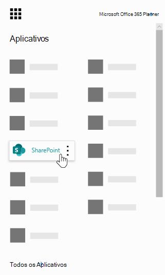 O inicializador de aplicativos do Office 365 com o aplicativo do SharePoint realçado